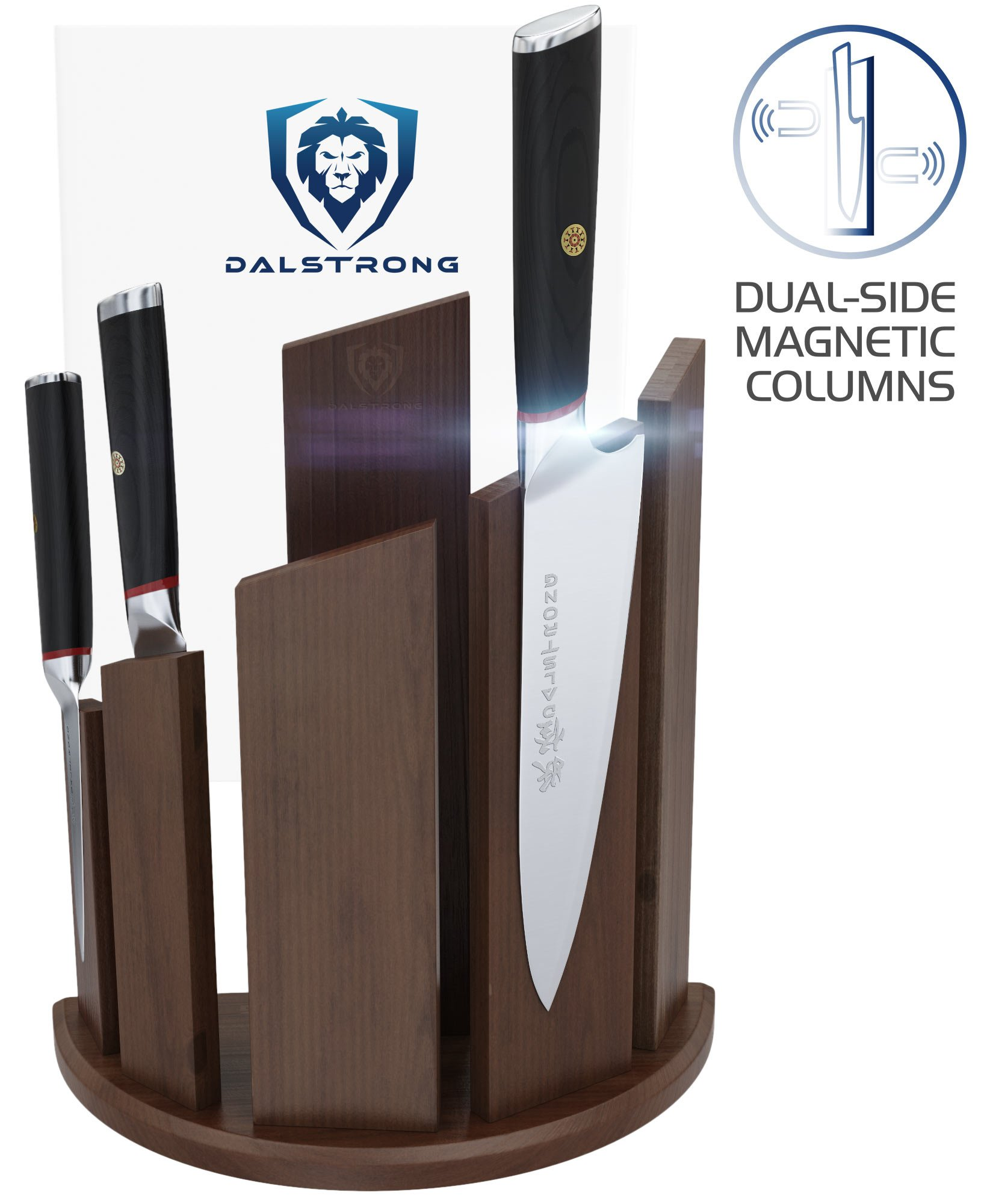 DALSTRONG - Knife Block Holder - Dragon Spire Double-Sided Magnetic Walnut Wood Block - Universal - Holds 12pc