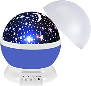 Star Night Light Projector for Kids, Rotating Moon Starry Lamp Projection for Bedroom Decor Birthday Christmas Xmas Gifts Presents for Boys Girls Age 3 4 5 6-12, Toys for 3-10 Year Old Boys Gifts Blue