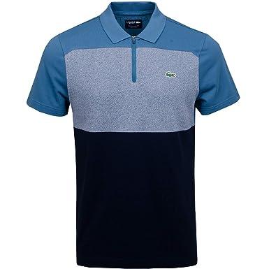 8b4a15a4 Lacoste Men's Sport Zip Neck Colourblock Petit Piqué Golf Polo Shirt  (Large, Blue/