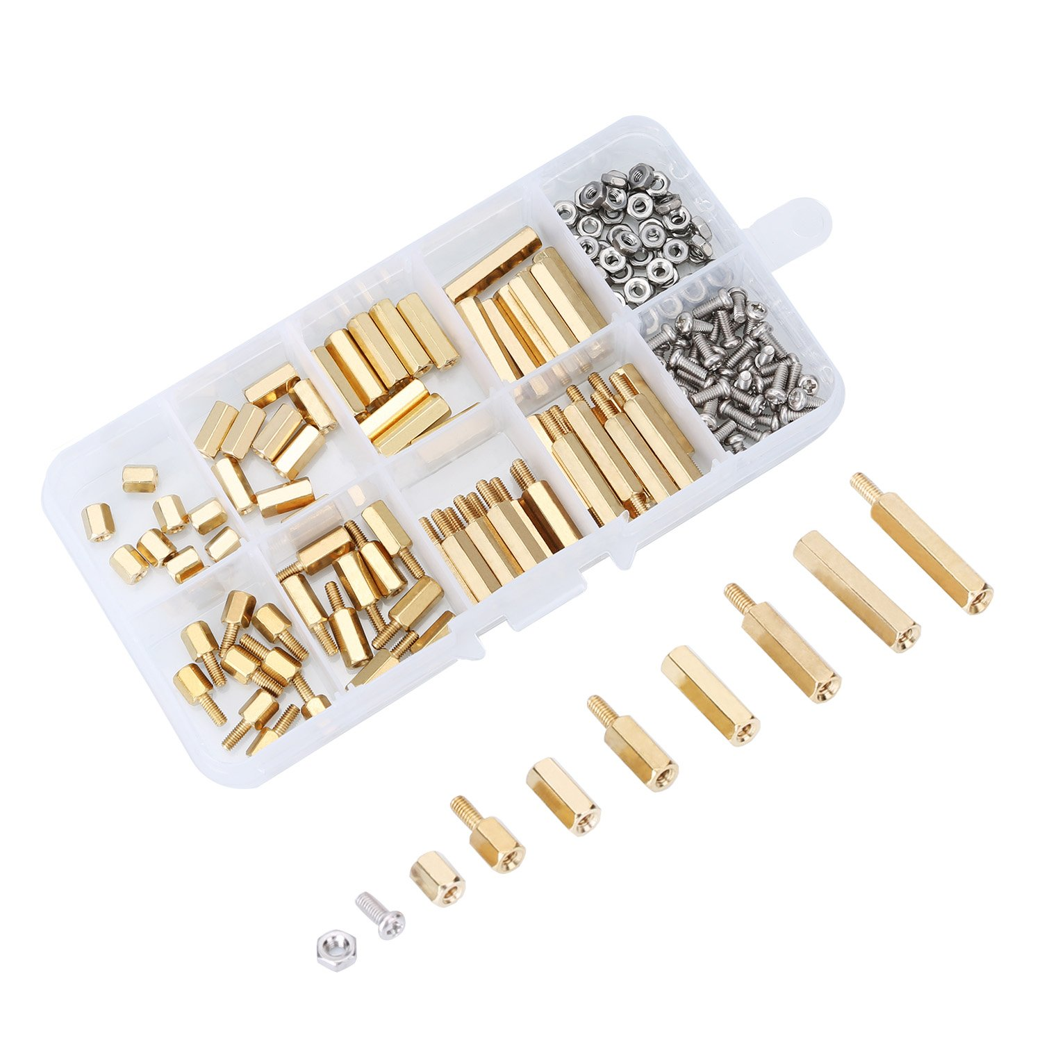 180 Pieces M2.5 Male Female Hex Brass Spacer Standoff Screw Nut Assortment Kit eBoot