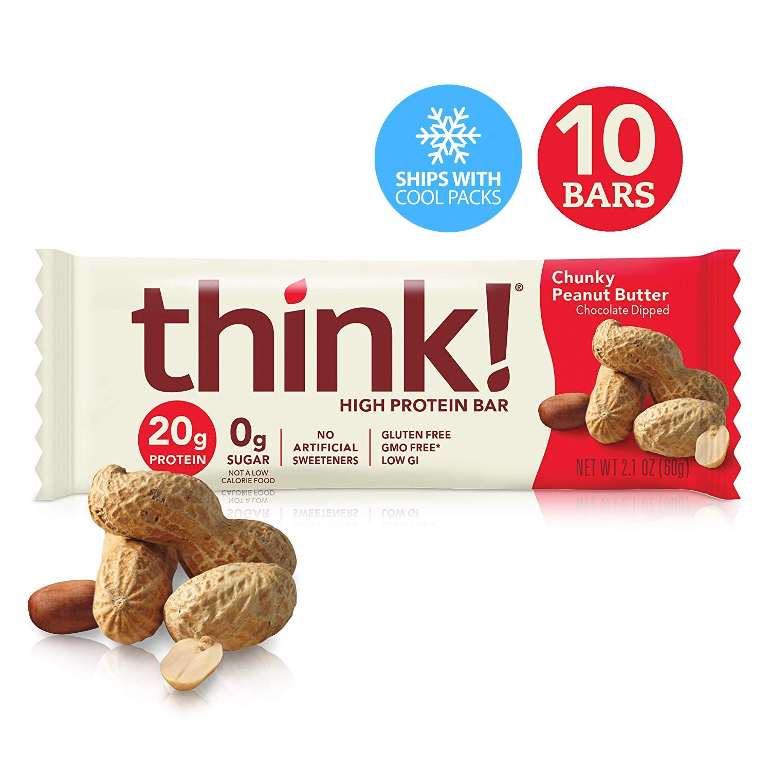 think! (thinkThin) High Protein Bars - Chunky Peanut Butter, 20g Protein, 0g Sugar, No Artificial Sweeteners, Gluten Free, GMO Free*, 2.1 oz bar (10Count - Packaging May Vary) by thinkThin