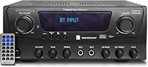 Technical Pro 1000 Watts Professional Bluetooth Receiver with USB & SD Card Inputs, 2 Mic Inputs, Compatible Recorder, and Wireless Remote Control for Home Speakers and Theater Entertainment