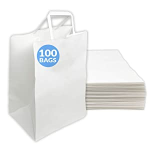 Reli. White Paper Bags w/Handles | 100 Pcs, Bulk | Large 10