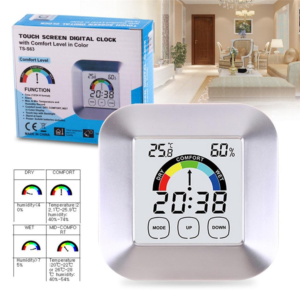 Dressffe Mini Temperature Humidity Meter Clock Color Electronic Cock Thermometer Round Home Digital Hygrometer Indoor Humidity