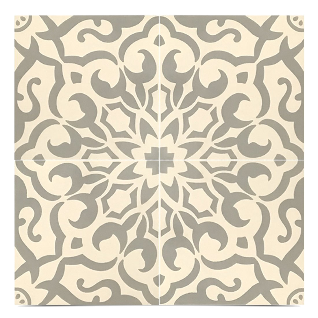 Moroccan Mosaic /& Tile House CTP57-02 Atlas Handmade Cement Tile Grey//White 12 Piece