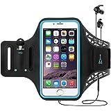 Funda Deportiva de iPhone X para Brazo, CoWalkers Brazalete resistente al agua con soporte para tarjeta de soporte de huella digital táctil llavero para iPhone 8 Plus, 7 Plus, 6 Plus (5.5 pulgadas), 6S, 7, 6, Galaxy S8 Plus / S9 Plus S7 / S6 / S5, Nota 4 con protector de pantalla (Negro)