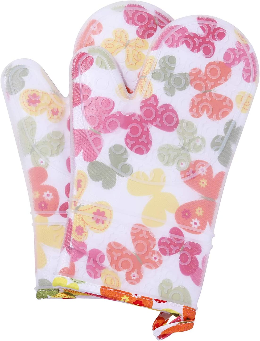 misaya Silicone Oven Mitts Printing Design Non-Slip Heat Resistant Kitchen Pot Holders with Grill Basting Brush, Butterfly