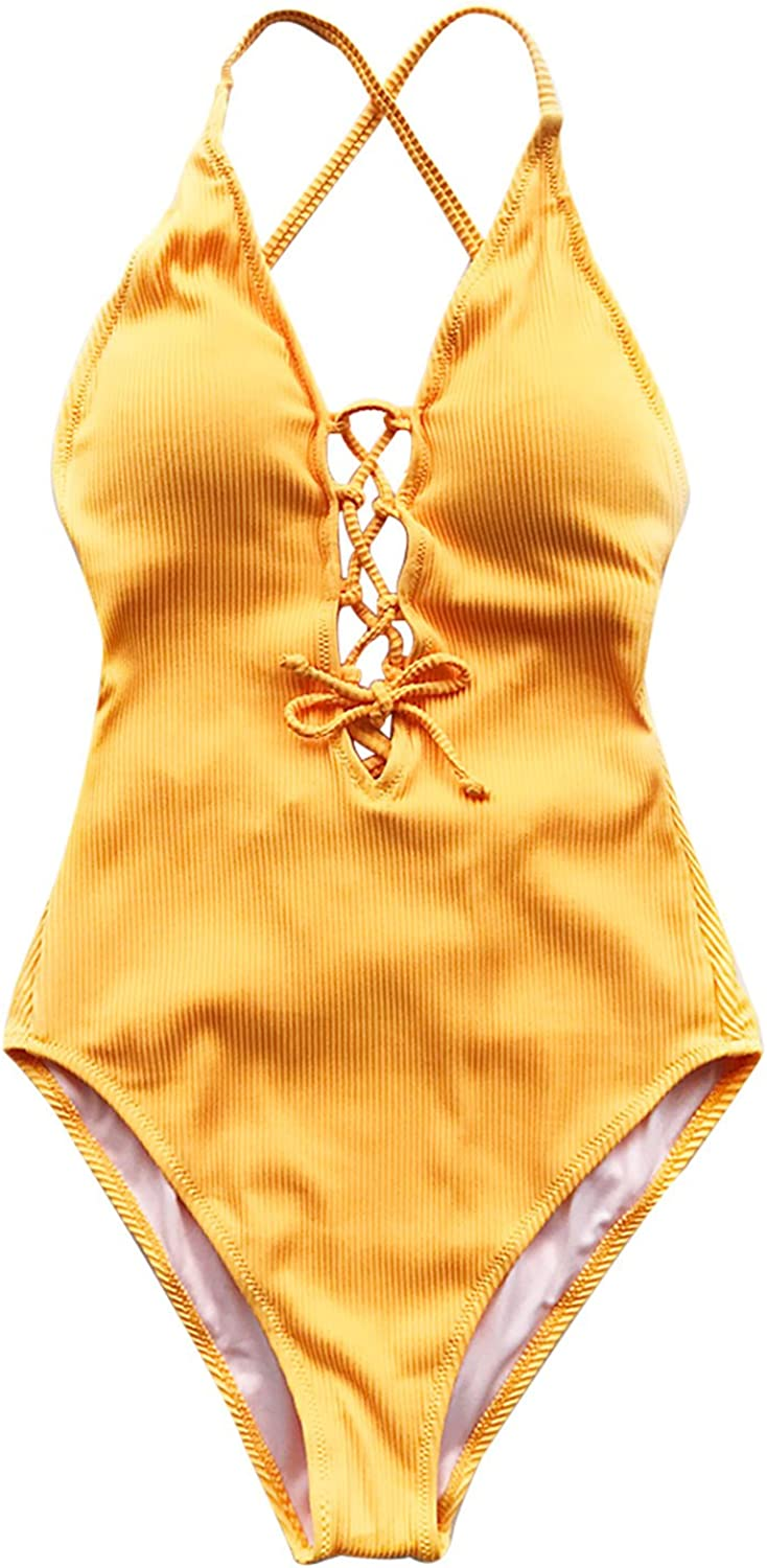 CUPSHE Womens Remind Me Solid One-Piece Swimsuit Beach Swimwear Bathing Suit