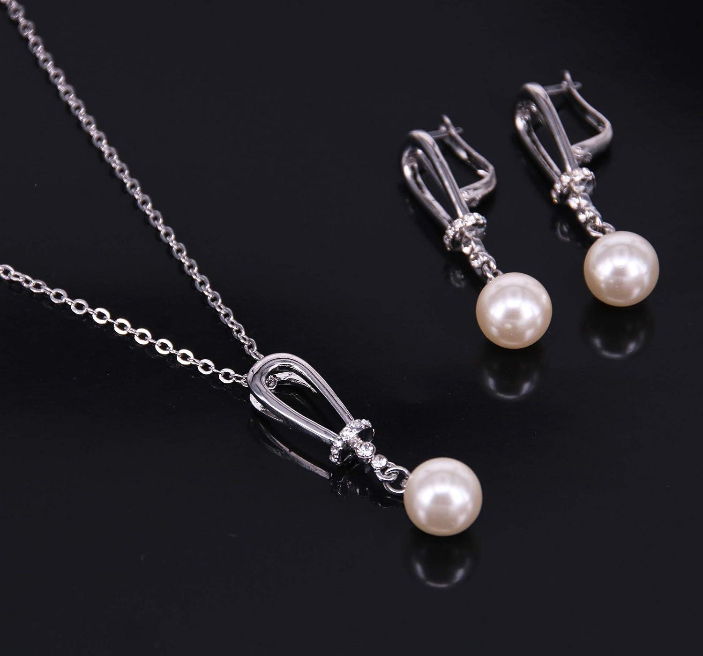 BiBeary Femme Zircon CZ Perles simul/ées Dangle /él/égant Parure Collier Boucles doreilles Argent-Ton