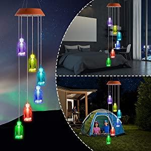 Amazing Wind Chime,Color Changing Solar Mobile Wind Chimes Lights Wishing Bottle Lucky Star Hanging Wind Bell Light Night Hanging lamp for Patio Garden Lighting Home Decoration with Spinning Hook