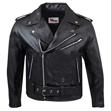 German Wear Chaqueta de Piel para Moto Rockabilly Rocker, Negro, 58
