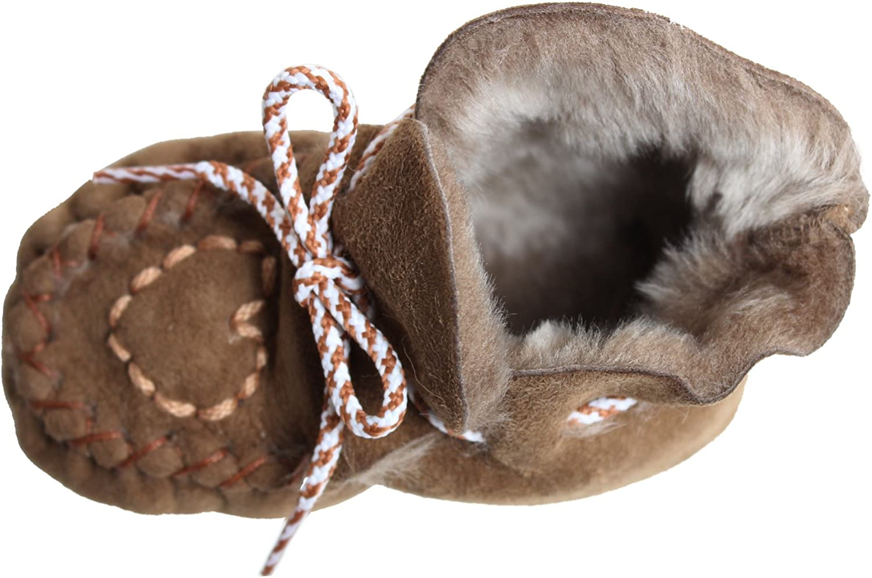 BRUBAKER Babyschuhe Krabbelschuhe echt Lammfell mit Herzchenstickerei