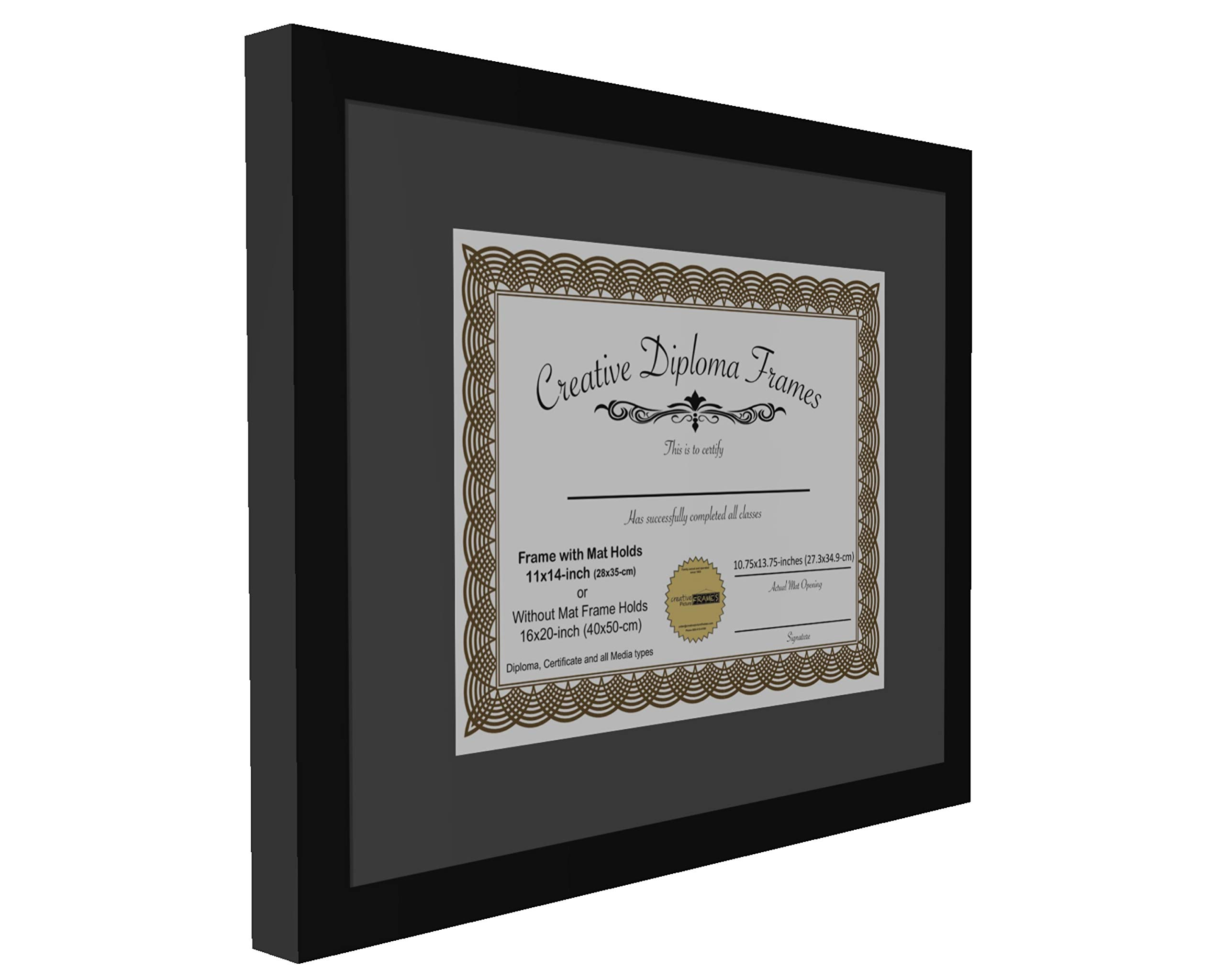 CreativePF [1620bk-b] Satin Black Large Diploma Frame with Black Mat Holds 14x17-inch Documents with Glass and Installed Wall Hanger by Creative Picture Frames (Image #3)