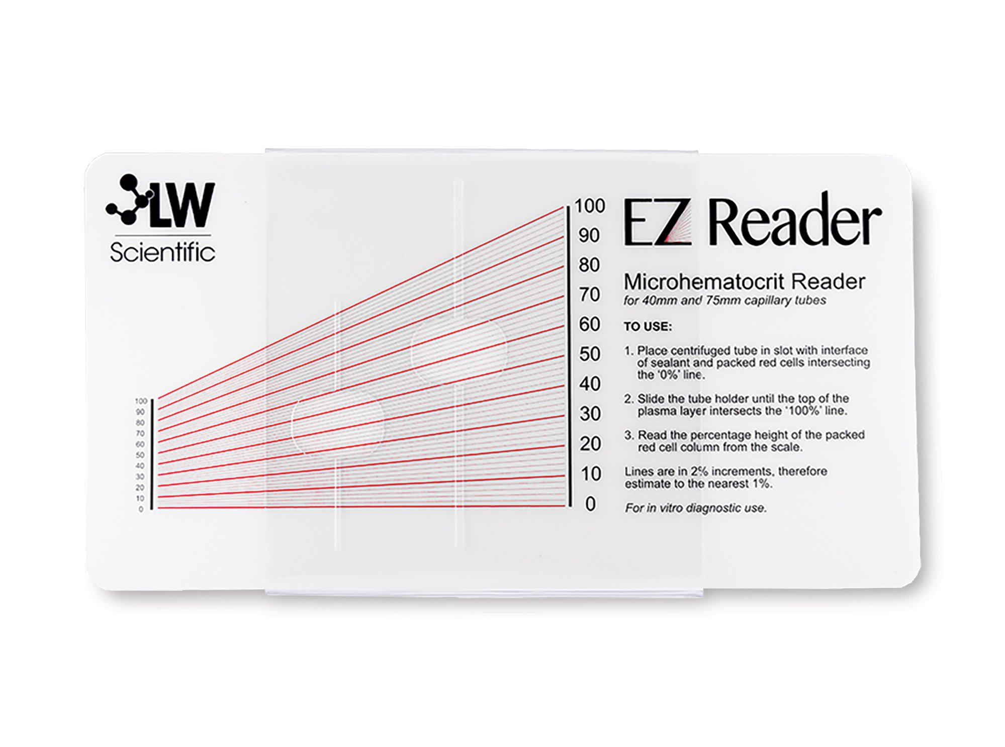 Ez Reader Microhematocrit Card with Sleeve