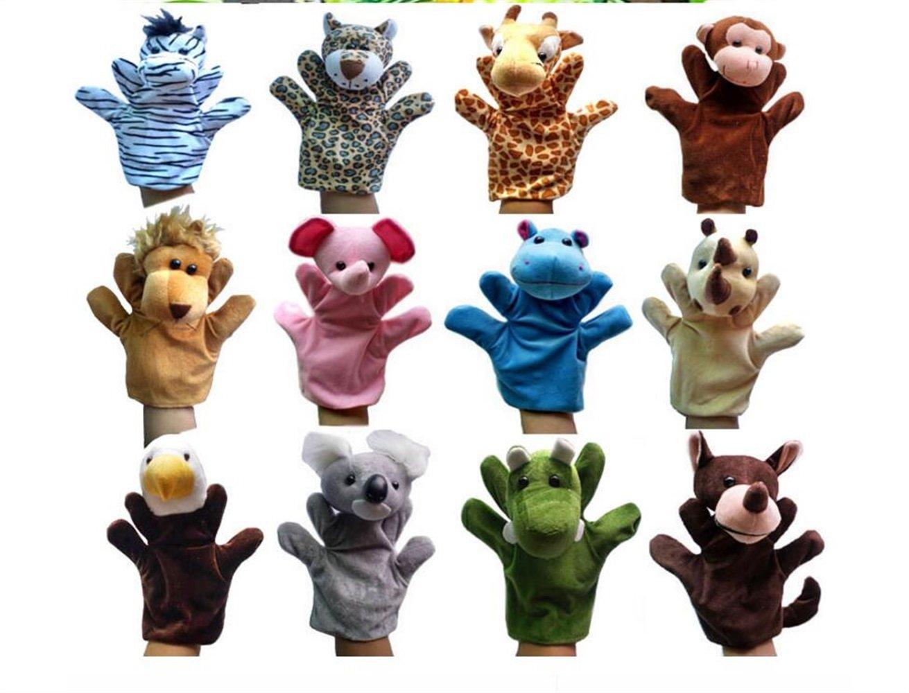 YOIL Marionnettes /à Doigt pour Enfants Jouet de marionnette /à Main en Peluche de la marionnette Animale Africaine Rhino