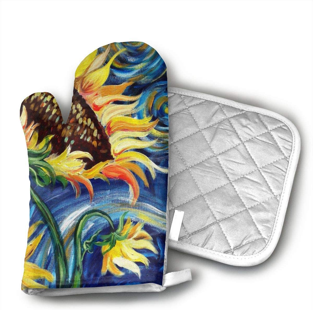 HEPKL Oven Mitts and Potholders Starry Night and Sunflowers Non-Slip Grip Heat Resistant Oven Gloves BBQ Cooking Baking Grilling