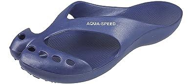 Aqua Speed Damen Badeschuhe/Flip Flop - sehr leicht - Alaska (hellblau, 35)