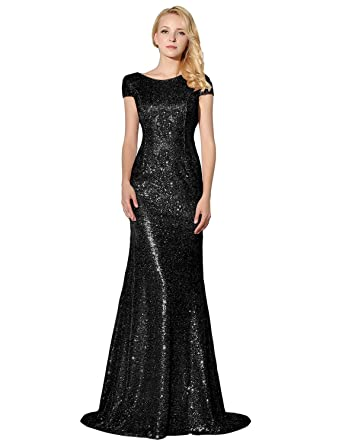 Belle House Womens Long Black Bridesmaid Gown Sequined Prom Dresses Capped Sleeve