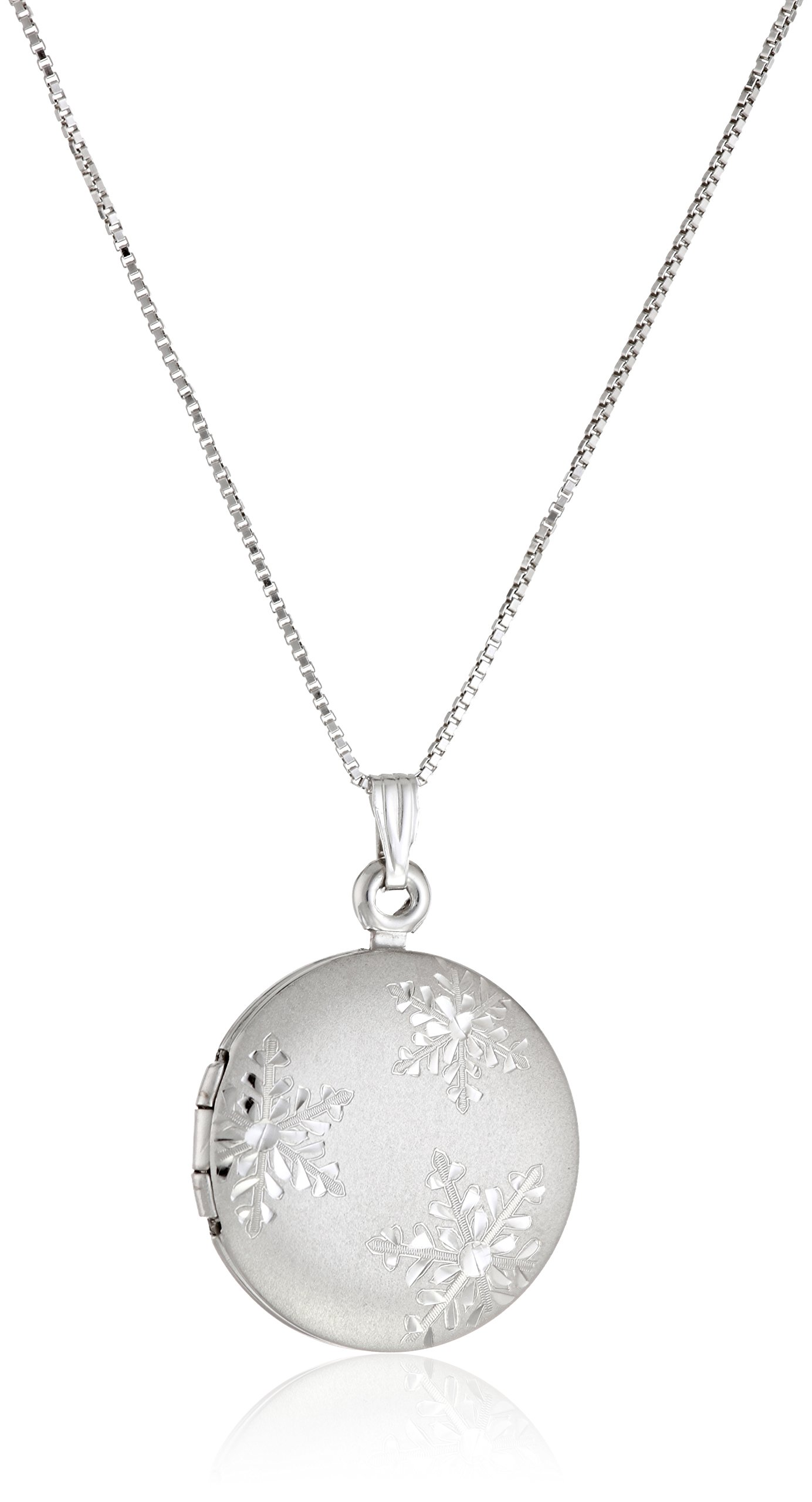 Sterling Silver Snowflake-Engraved Locket Necklace, 19''
