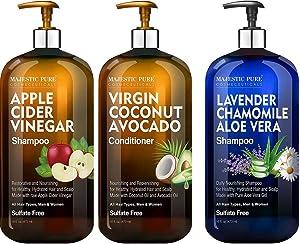 Majestic Pure Apple Cider Vinegar Shampoo and Avocado Coconut Conditioner Set and Lavender Chamomile Aloe Vera Shampoo Bundle - 16 fl oz each