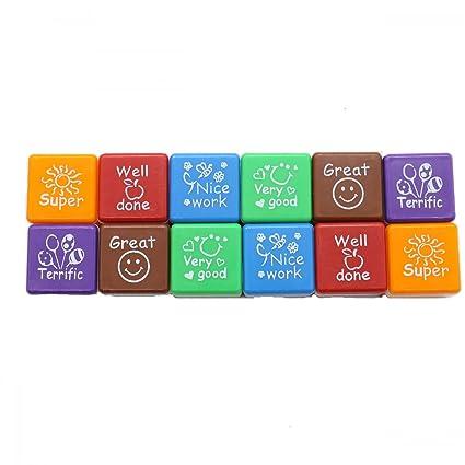 RTNOW Praise Reward Teacher Stamper Self Inking Stamps Set Of 12