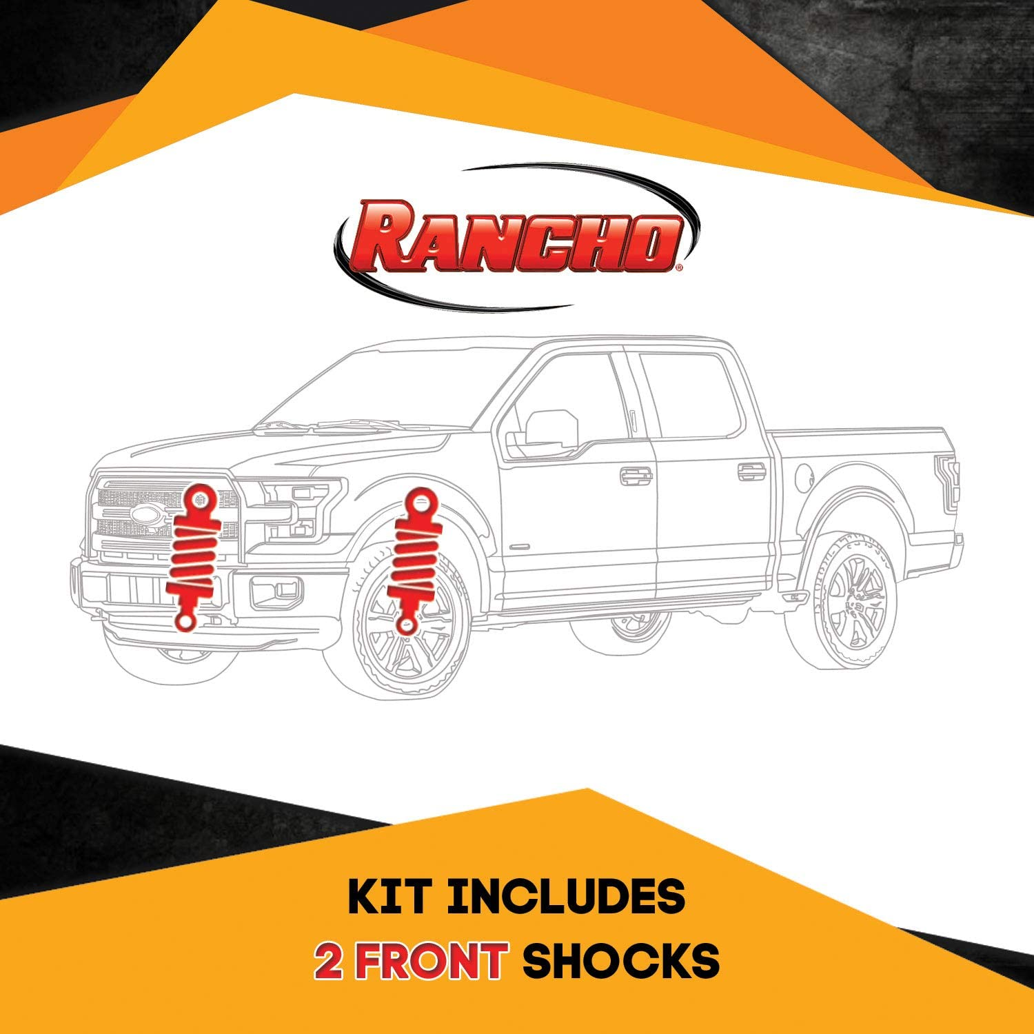 Kit of 2 Rancho RS5000X Front 2.5 inch lift Lift Shocks for Ford F-350 Superduty 4WD 1999-2004