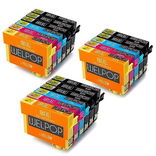 12 opinioni per WELPOP T18 XL Cartucce d'Inchiostro, Alta Capacità Sostituzione per Epson T181