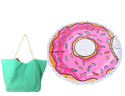 "Premium 60 ""redondo rosa Donut con flecos paño de Terry toalla de playa y"
