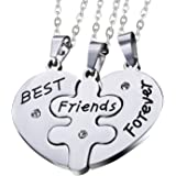 OIDEA Stainless Steel Sets of 3pcs Best Friends Forever Friendship Heart Puzzle Pendant Necklace,Silver,Gold,Black