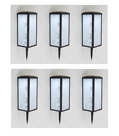 6 x diseño Solar portavelas Mallorca con 2 x LED, luz blanca láminas de cristal con motivos de diseño modelo, con conexión a tierra: Amazon.es: Iluminación