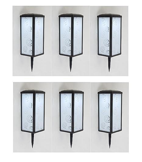 6 x diseño Solar portavelas Mallorca con 2 x LED, luz blanca láminas de cristal