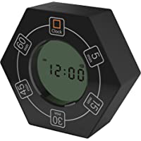 Home & Office Timer with Clock, 5,15, 30, 45, 60 Minute Preset Countdown Timer, Easy-to-Use Time Management Tool (Black)