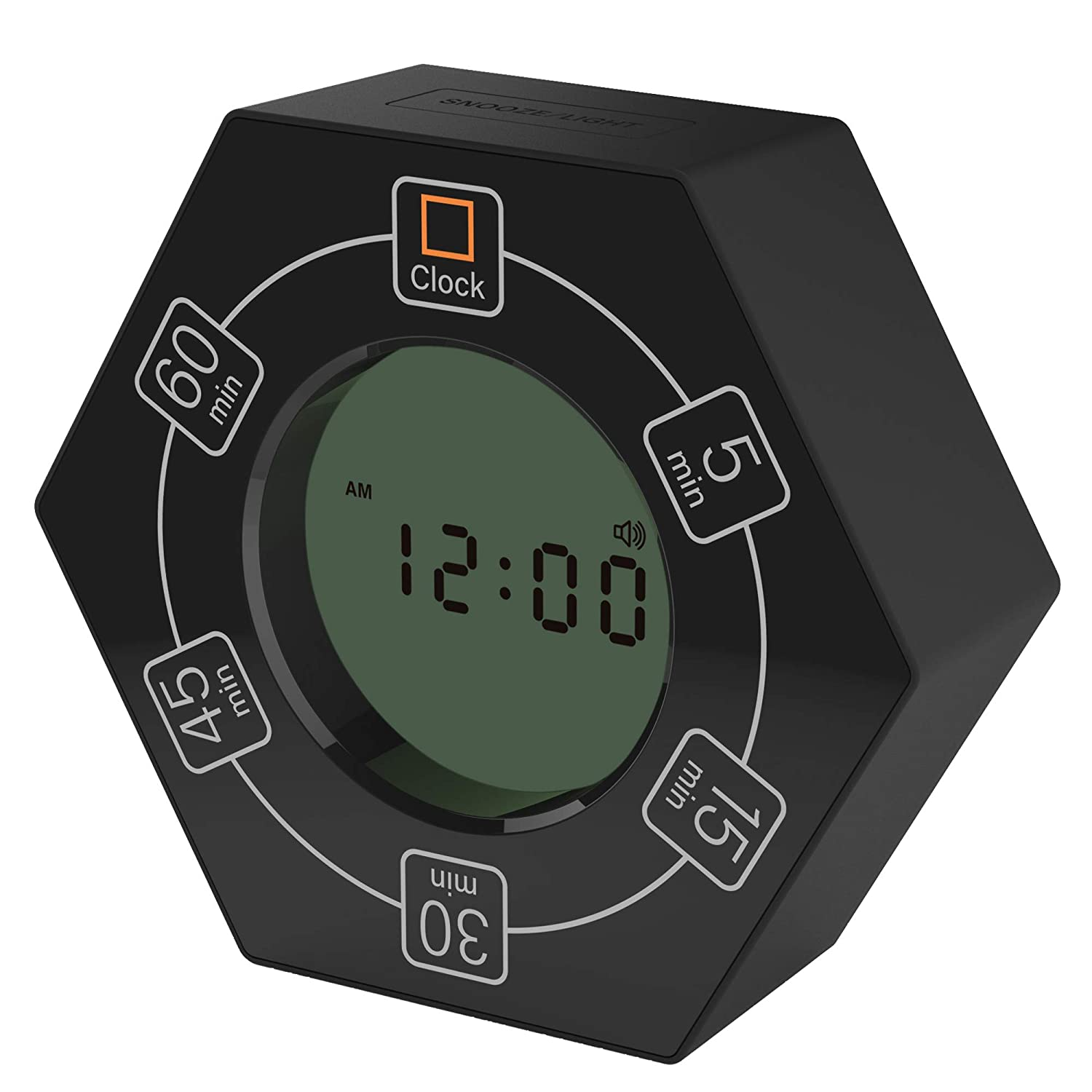 Hexagon Rotating Timer, 5,15, 30, 45, 60 Minute Preset Countdown Timer, Easy-to-Use Time Management Tool for Classroom, Meeting, Cooking, Study, Homework, Workouts (Black) 71Xie2oZECL