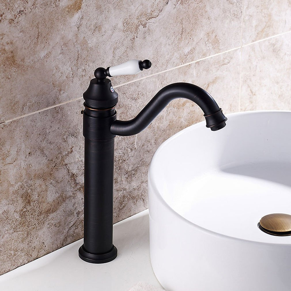 Good quality Antique Basin Sink Mixer Tap Black bronze single handle single hole hot and cold water basin mixer