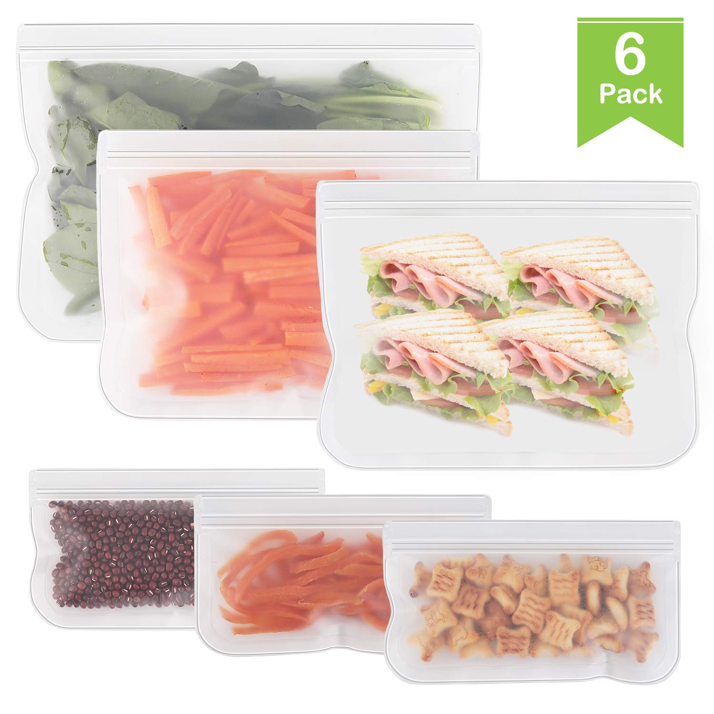 Reusable Food Storage Bags - 6 Pack Leakproof Ziplock Freezer Bag - Clear Reusable Snack Bags for Kids Snacks, Sandwich, Lunch, Travel Storage, BPA Free