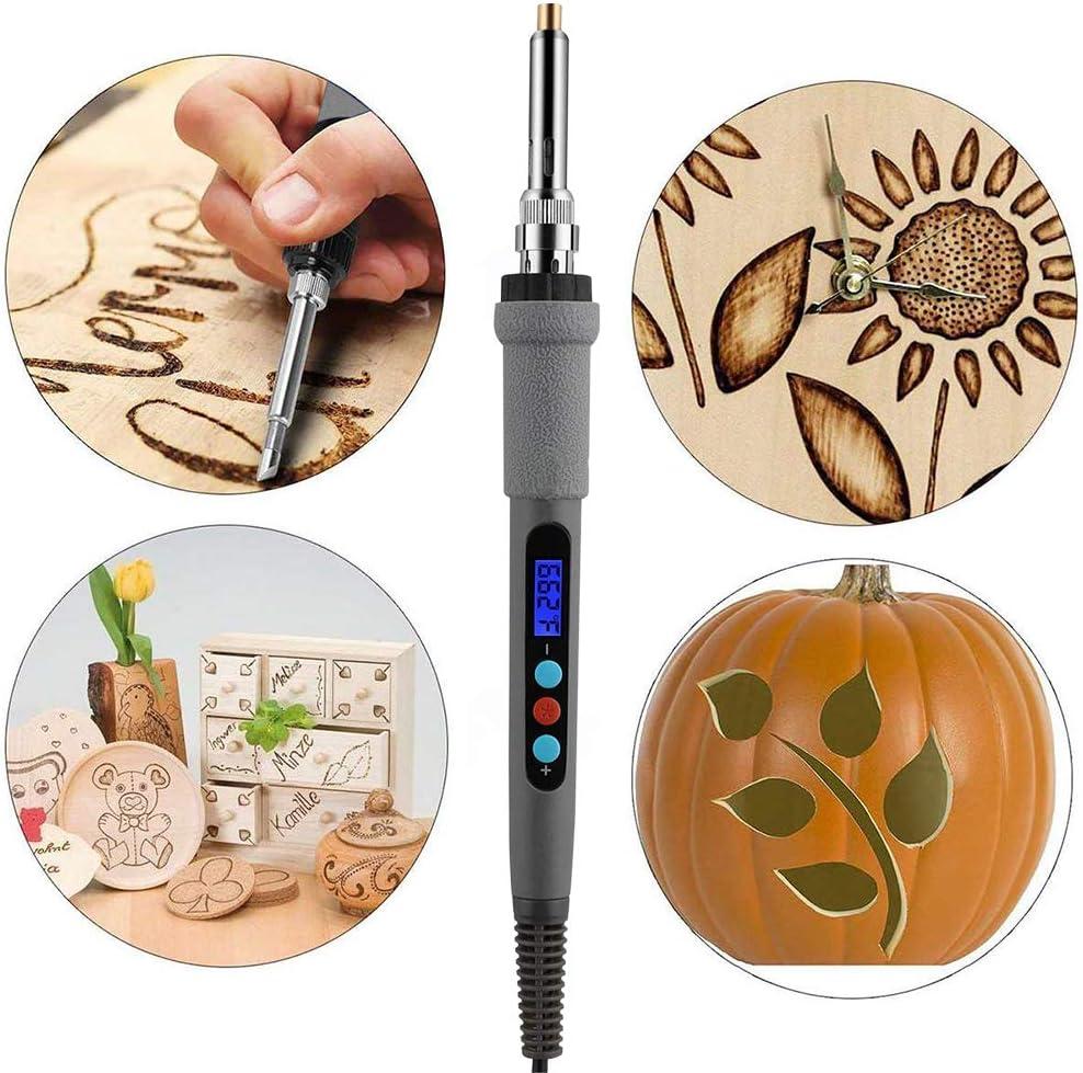 480 /° C 60W Thermostatic Digital-Controlled Pen Set Wood Craft Tools for Wood Burning//Soldering//Carving//Embossing Adjustable Temperature 180 /° C GNEGNI 45 Pcs Kit de Pyrograveur
