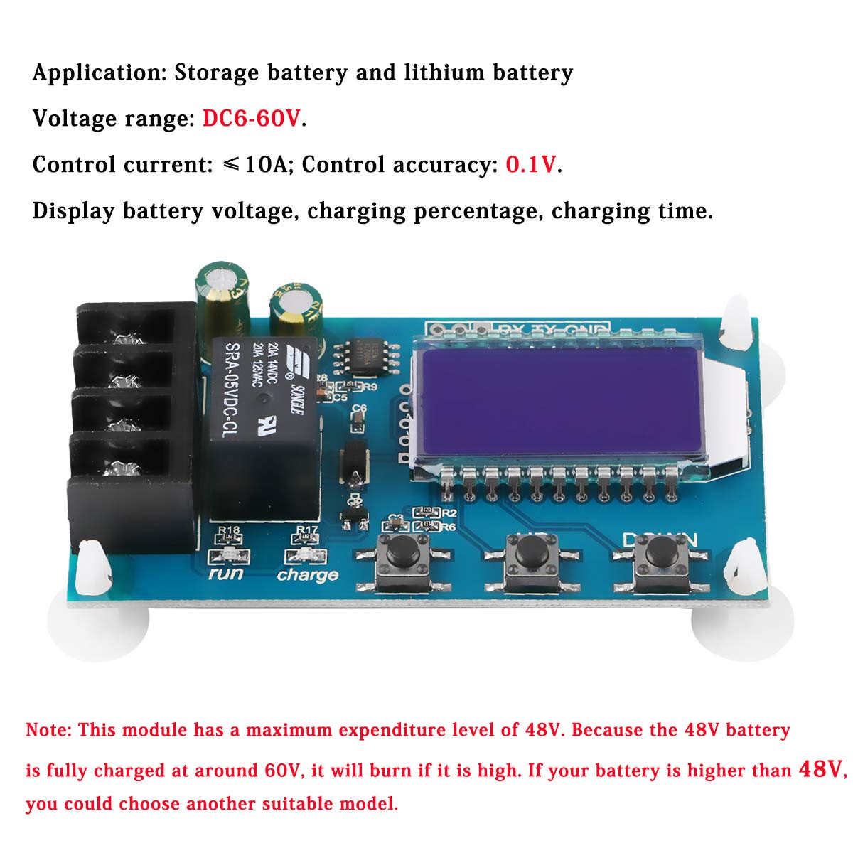 Innovateking-EU 2 st/ücke XY-L10A 10A DC6-60V Speicherbatterie Lithium-Batterie Digitales Ladesteuermodul Board /Überladungsschutz Automatische Zeitsteuerung mit LCD