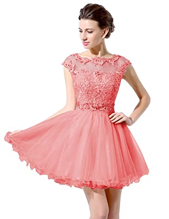 Amazon Belle House Short Sheer Neck Prom Gown Homecoming