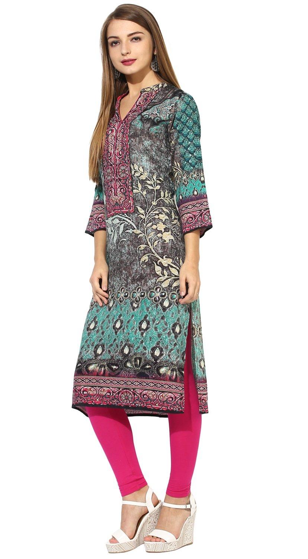 "Lagi Designer Rayon Straight Kurti for Women Printed Tunic Top Mandarin Collar ¾ th Sleeve Dress"" (L-42)"