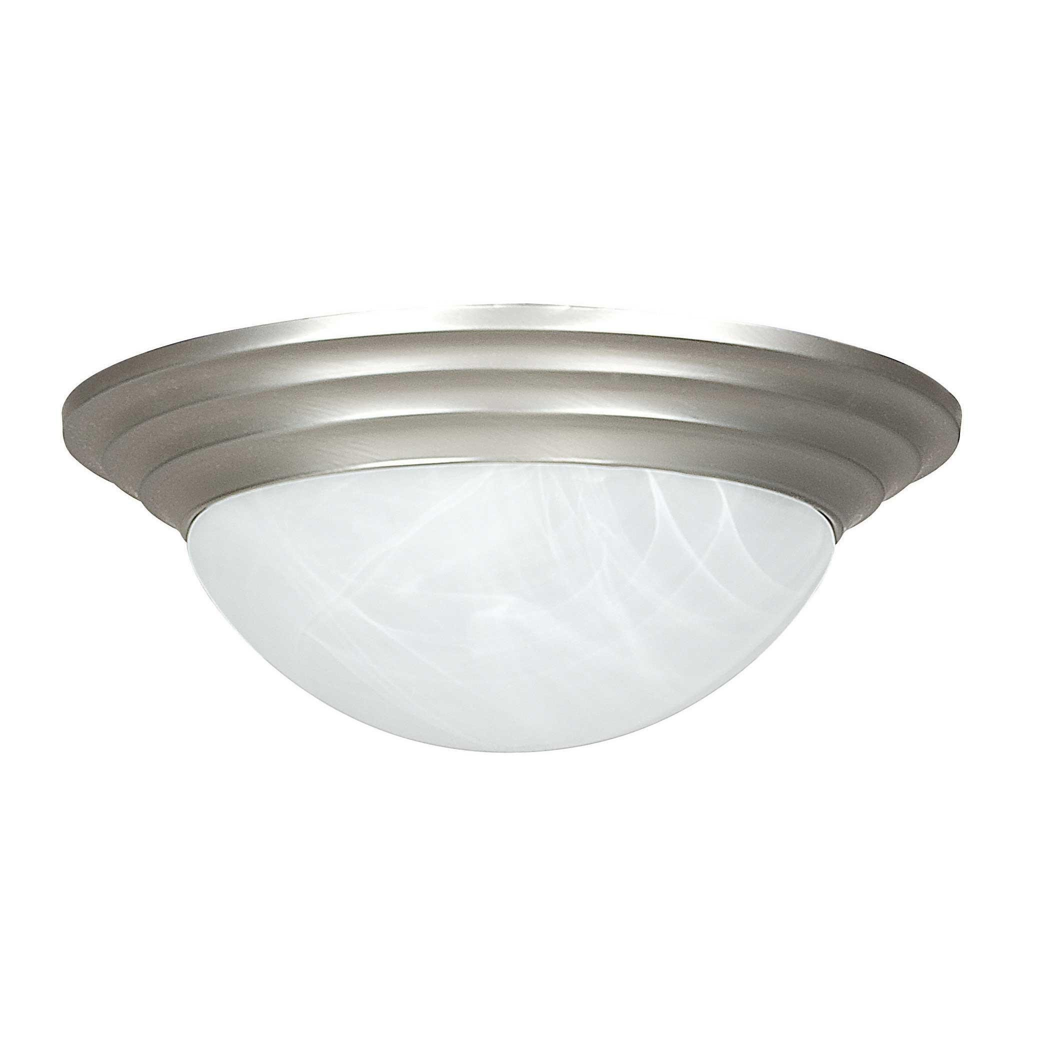 Sunset Lighting F7166-53 Flush Mount with Twist on Faux Alabaster Glass, Satin Nickel Finish