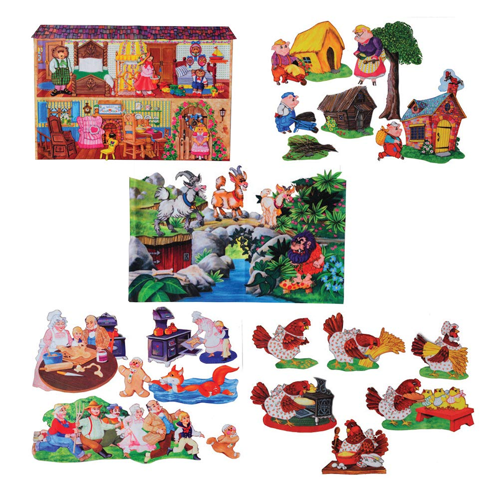 Constructive Playthings Deluxe Flannel Board Story Telling Props Set of 5 Beloved and Recognizable Stories Character and Scenes in Ready-to-Cut Quality Felt for Ages 3 Years and Up