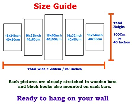 Amazon Premium Quality Canvas Printed Wall Art Poster 5 Pieces