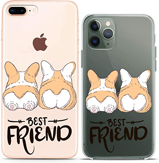 Amazon Com Cavka Matching Couple Cases Replacement For Iphone 12 Pro 5g Mini 11 Xs Max 6s 8 Plus 7 Xr 10 Se X 5 Dogs Best Friend Butt Silicone Cover Animal Clear