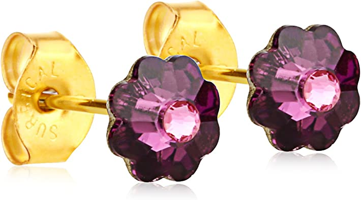 Pink and Fuschia Butterfly Stud Earrings 18k Yellow Gold So Chic Jewels