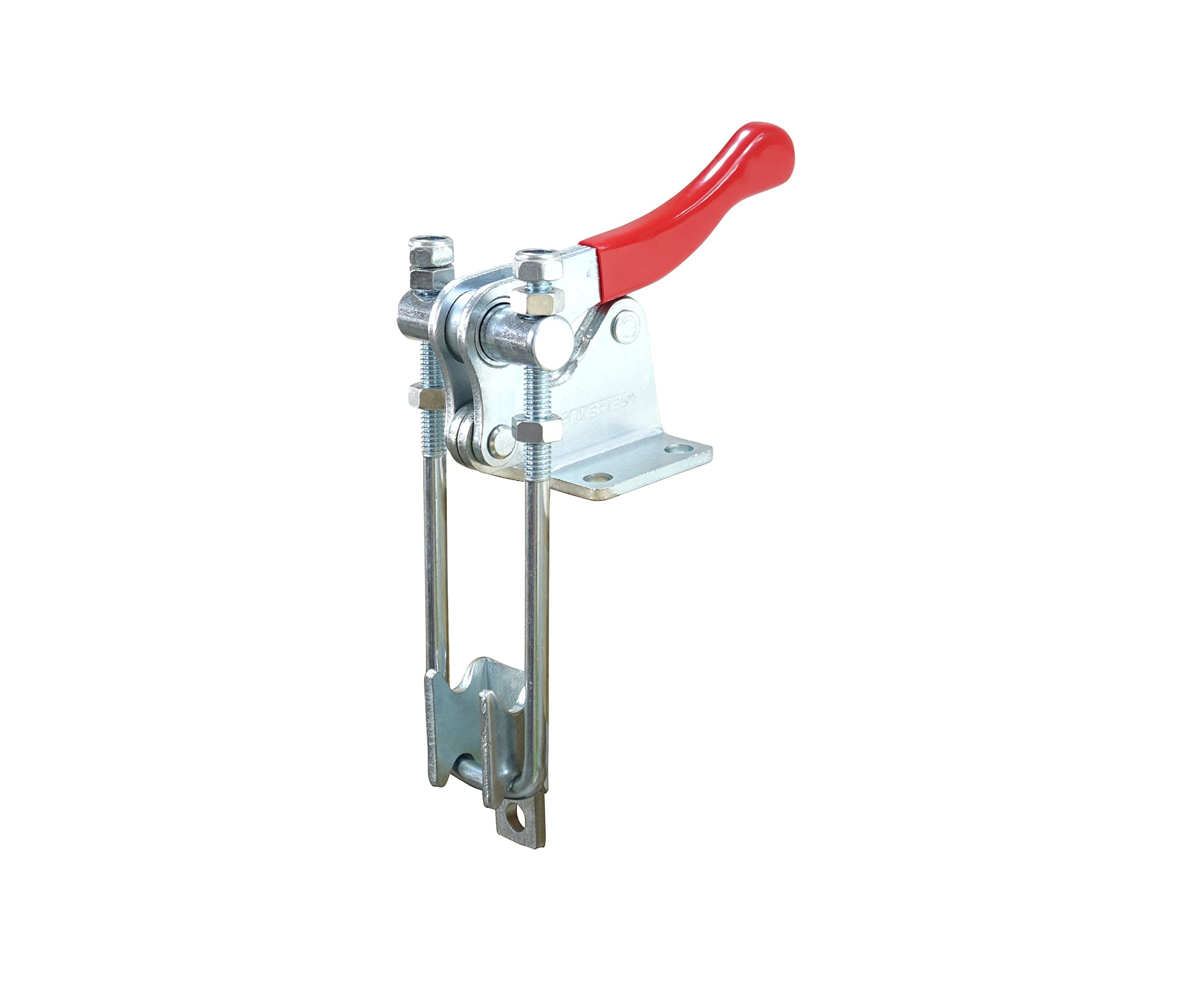 POWERTEC 20324 Latch Action Toggle Clamp w Threaded U Bolt and Red Vinyl Handle Grip - 1980 lb Holding Capacity, 40344 by POWERTEC
