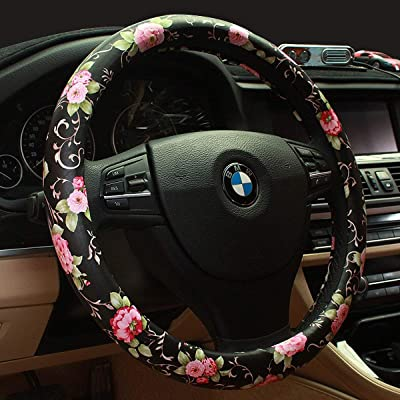 Limited - Binsheo PU Leather Floral Auto Car Steering Wheel Cover,for Women Girls Ladies,Anti Slip Non-toxic Universal 15 Inch, Chinese Style,Black with Red Flowers: Automotive