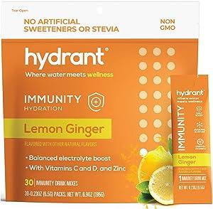 Hydrant Immunity Vitamins Electrolyte Powder w/ Vitamin C, B12, B6 & Zinc, Rapid Hydration Drink Mix, Hydration Powder Packets, Lemon Ginger Flavor 30 Easy Open Stick Packs