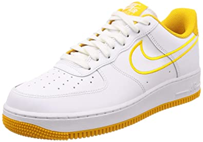 5cc637b8373f9 NIKE Men's Air Force 1 '07 Leather Shoe White/Yellow Ochre, 9.5