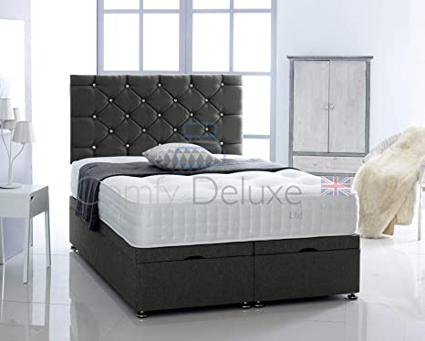 Astonishing Black Chenille Fabric Ottoman Bed Base Only By Comfy Deluxe Ltd Black 6Ft Super King Size Andrewgaddart Wooden Chair Designs For Living Room Andrewgaddartcom