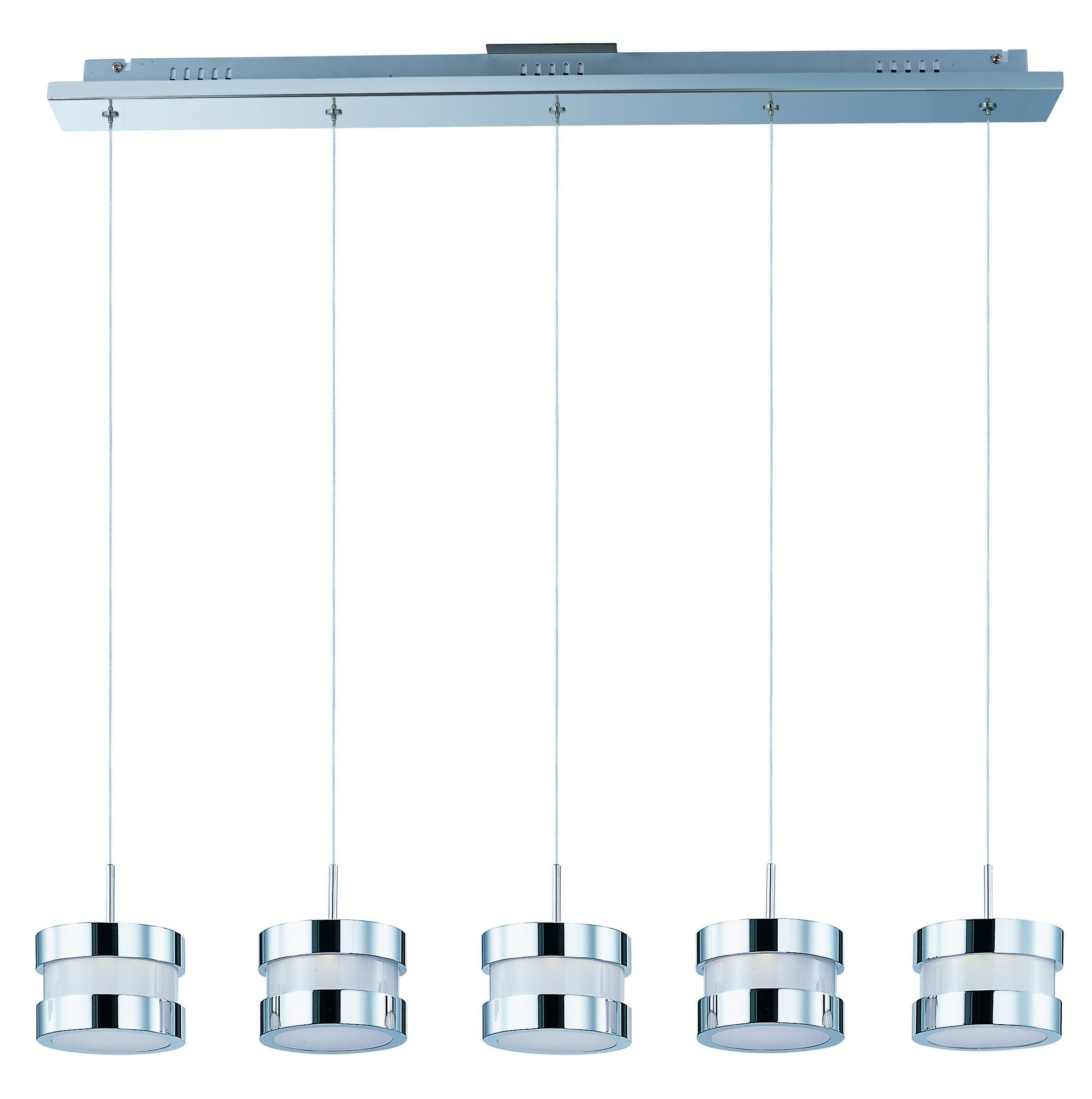 ET2 E22685-01PC Disco 5-Light LED Linear Pendant, Polished Chrome Finish, White Glass, PCB LED Bulb, .12W Max., Dry Safety Rated, 3000K Color Temp., Low-Voltage Electronic Dimmer, Glass Shade Material, 785 Rated Lumens